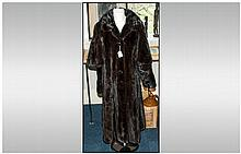Dark Chocolate Brown Full Length Luxurious Mink Coat, glossy and supple, wi
