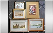 Collection Of Five Watercolours. Comprising; 1,