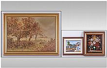Set Of Three Oil Paintings. Comprising; 1, Glyn