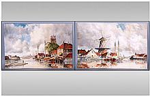 Van Staaten Pair Of Watercolours. Depicting Dutch