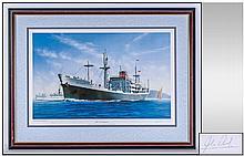John Wood Marine Artist Pencil Signed Limited