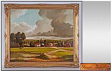 Stephen Scholes Oil on Canvas. Cookham Moor,
