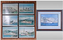 Set of Six Prints from Various Liners, including