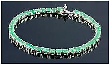 Silver Emerald Tennis Bracelet, Set With Oval Cut