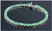 Silver Emerald Tennis Bracelet, Set With Oval Cut