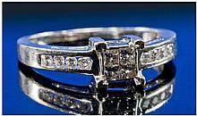18ct White Gold Diamond Ring, Set With Four