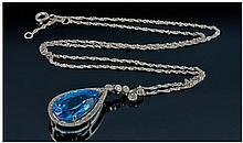 18ct White Gold Set Blue Topaz and Diamond Pear