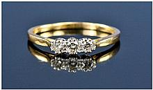 18ct Gold Diamond Ring, Set With Three Round