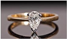 18ct Gold Set Single Stone Diamond Ring. The pear