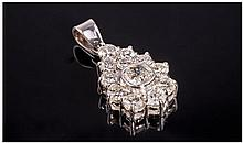 A 18ct White Gold and Platinum set Handmade Pear
