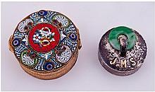 Vintage Mosaic And Gilt Metal Circular Pill Box.