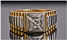 A Gents 18ct Two Tone Gold Rolex Style Ring with
