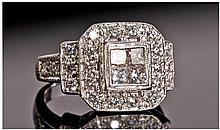 18ct White Gold Set Diamond Cluster Ring. The