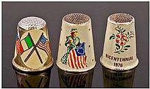 Three American Silver Gilt and Enamel Thimbles
