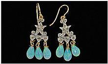 18 Carat Diamond and Opal Drop Earrings.