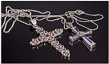 Silver Crosses Set With Amethysts And Fitted On
