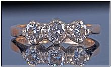 9ct Gold Set Three Stone Diamond Ring, bright