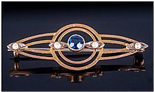 Edwardian Elegant 9ct Gold Set Sapphire And Seed