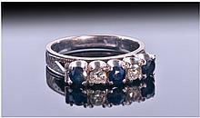 18ct White Gold Set Diamond And Sapphire 5 Stone
