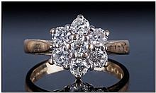 18ct Gold Diamond Cluster Ring, Set with 7 round