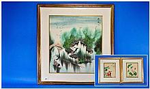 Oriental Framed Modern Print, Oriental Signed