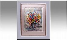 Andre Bicat (1909-1996) Flowers Watercolour. 24 x