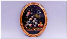 Oval Painted Plaque Depicting Still Life Fruit.