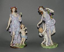 Meissen - Fine Pair of 19th Century Porcelain Figurines of Venus with Atten