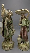 Royal Dux Fine Pair of Porcelain Hand Painted Figures ' Eastern Water-Carri