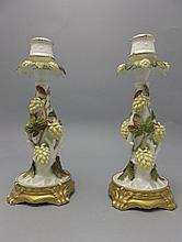 Moore Hand Decorated Pair of Porcelain Candlesticks. Applied Hop Flower and