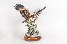 Capo Di Monte Figure Of  A Barn Owl Perched On A Branch. Wings Extended. 16