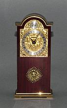 Tempus Fugit Swiss Made Quality Wind Up Table Clock, In Gilt Brass and Poli