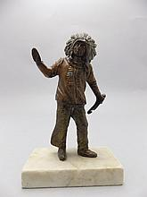 An Early 20th Century Cold Painted Bronze Figure of an Indian Chief, Raised