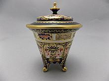 Royal Crown Derby Imari Pattern Lidded and Footed Trinket Jar. Date 1911. H