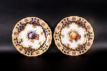 Royal Worcester Pair Of Handpainted And Signed Cabinet Plates By Richard Se