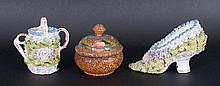 Three Cottage Antique Items Comprising miniature ceramic shoe & watering ca