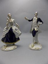 Royal Dux Hand Painted Pair of Blue and White 1930's Porcelain Figures  ' A