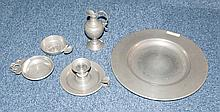 A Quantity Of Pewter To Include A Plate , A Lidded Tureen Both Stamped Etai