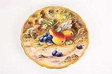 Royal Worcester Hand Painted Cabinet Plate 'Fallen Fruits'. Signed T Lockye