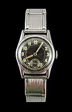 A 1940's Manual Wind Midi - Sized Stainless Steel Watch with Attached Expan