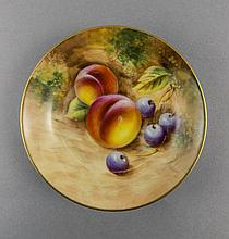Royal Worcester Hand Painted Pin Dish ' Fallen Fruits ' Pattern. Signed Rob