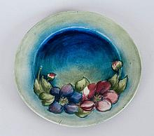 William Moorcroft Early Cabinet Plate 'Clematis' Design On Blue/Green Groun
