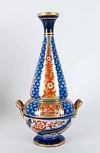 James Macintyre Aurelian Ware Rare Shaped Two Handled Tapered Vase. c.1897