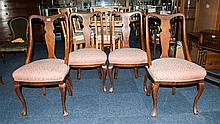 Set Of 4 19thC Mahogany Framed Dining Chairs Of Solid Construction With Pad