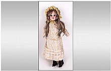 Armand Marseille Bisque Headed Doll with Brown Sleeping Eyes, Blonde Wig an