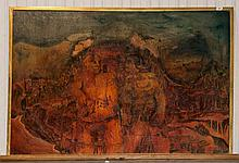John Farrington Large Oil Painting Stylised Depiction Of Adam And Eve, 37x5