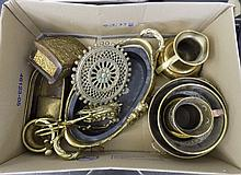 Collection of Brass Items including tankards, planters, ornaments, pestle a