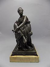 French 19th Century Good Quality Bronze Sculpture of a Seated Classical Fem