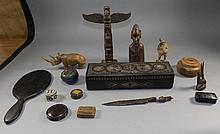 Miscellaneous Lot Comprising Hinged Glove Box With Carved Decoration To Top