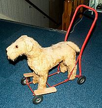Pedigree Soft Toys Ltd Dog On Wheeled Frame, Steel Frame, Mohair Mixture Pl